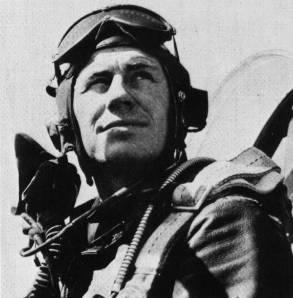 Chuck Yeager portrait while flying in uniform.