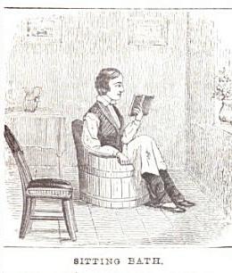 vintage sitting bath illustration drawing