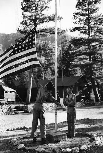 civilian conservation corp CCC camp raising the flag