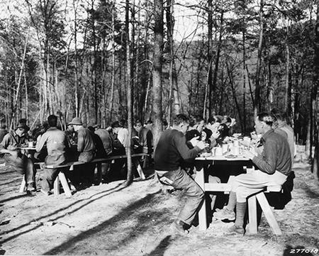 Civilian Conservation Corps CCC Men Eating, Camp Roosevelt, VA