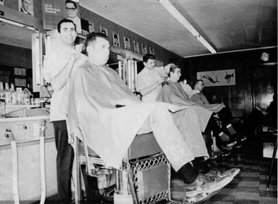 vintage old school barbershop men getting hair cut