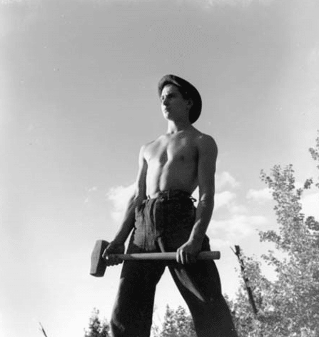 Civilian Conservation Corps ccc man shirtless sledgehammer