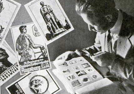 stamp collection man looking at book manly hobbies