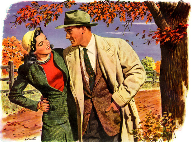 1950s vintage illustration couple walking in fall leaves