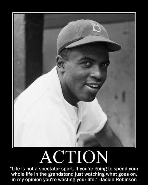 jackie robinson action spectator sport quote motivational poster