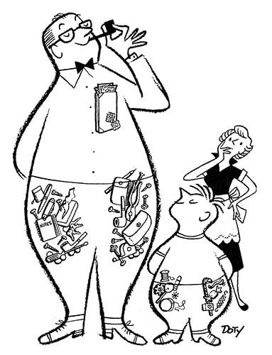 Man's pockets by milton wurtleburtle illustration.