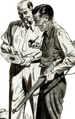 vintage 1950s marksmanship illustration man gun target