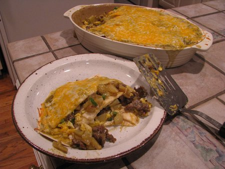 Green Chili Breakfast Burrito Casserole hearty winter meal