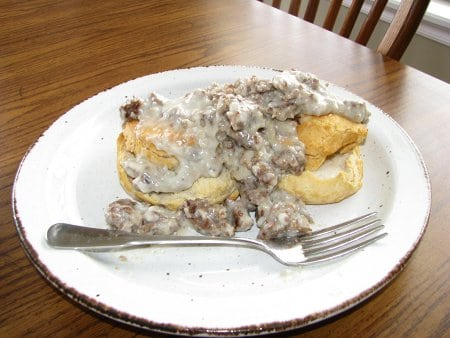biscuits and gravy homemade hearty winter breakfast