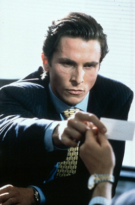 american psycho christian bale suit business card