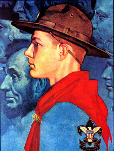 vintage boy scouts illustration lincoln roosevelt young man