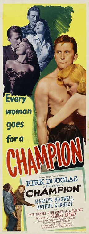 champion kirk douglas movie poster best boxing films