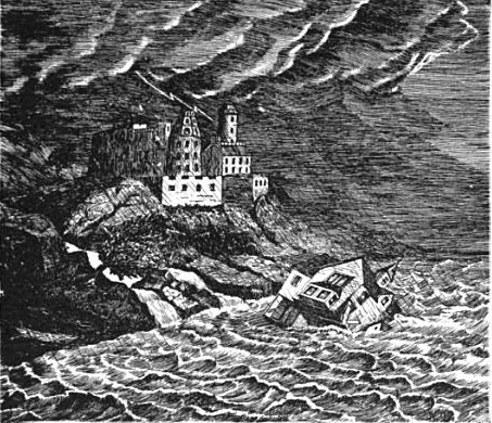 An illustration of house falling in sea during storm.