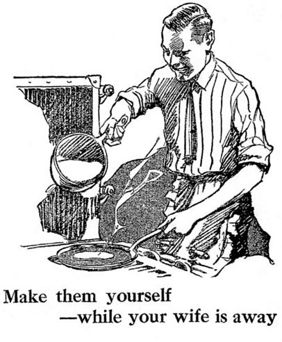 Man making pancakes illustration.