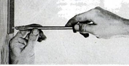 Vintage man tighten the screw using screwdriver illustration.