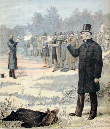 Victorian men shooting each other illustration.