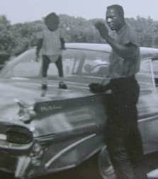 vintage african-american father young daughter car