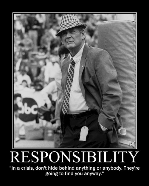 Paul Bear Bryant crisis quote motivational poster standing crowd on background.