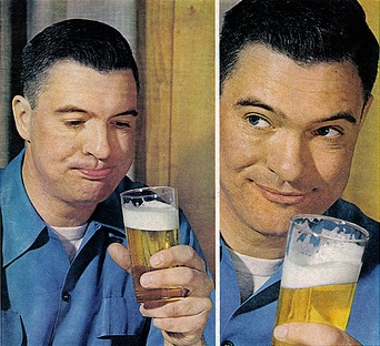 vintage illustration man drinking beer satisfied