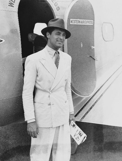 cary grant airplane double breasted suit hat