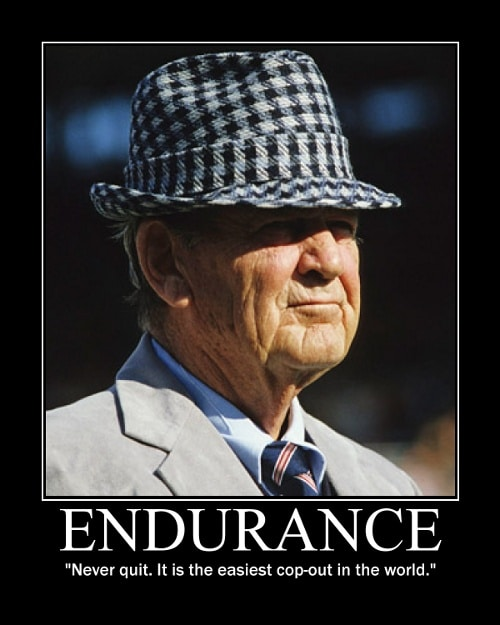 paul bear bryant never quit quote motivational poster
