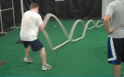 Battle rope training fitness routine.