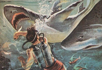 vintage illustration cartoon diver fighting sharks