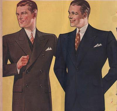 Vintage men wearing suit illustration.