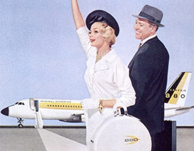 vintage couple illustration leaving on airplane vacation
