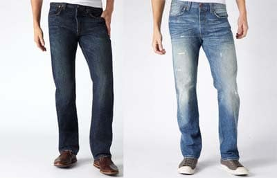 Denim Jean Comparison dark indigo acid washed