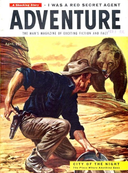 vintage adventure men's magazine cover grizzly bear