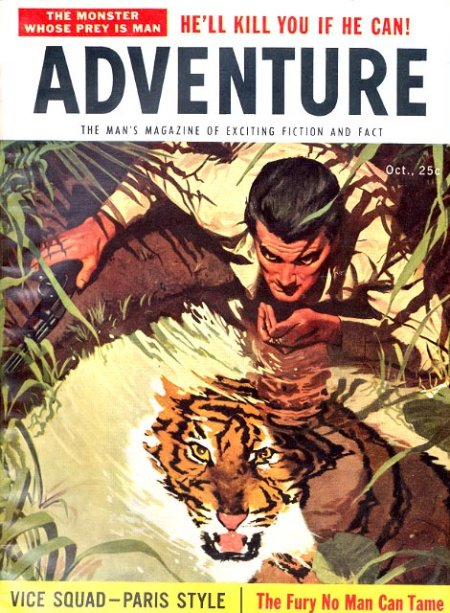 vintage adventure men's magazine cover tiger in wait