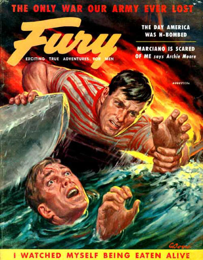 Vintage fury men's magazine cover shark attack.