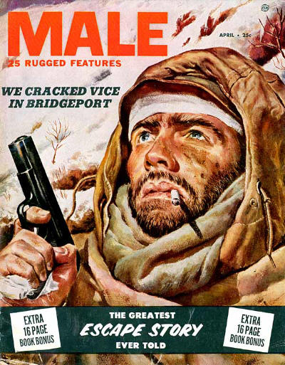 Male vintage men's magazine cover escape story man smoking and holding shot gun.