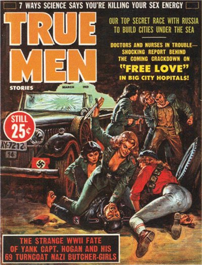 vintage magazine cover true men nazi butcher girls