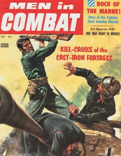 Men in combat vintage magazine cover soldiers fighting.
