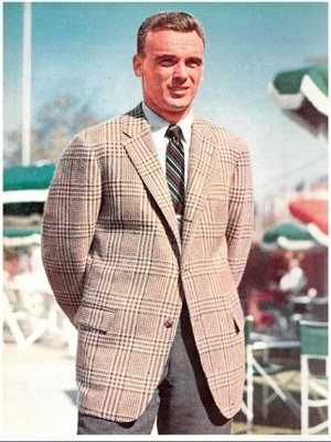 vintage man wearing patterned checkered sports coat blazer