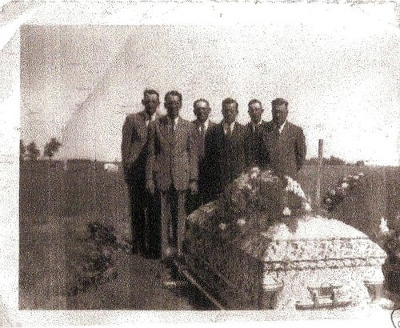 vintage funeral pallbearers men at grave site