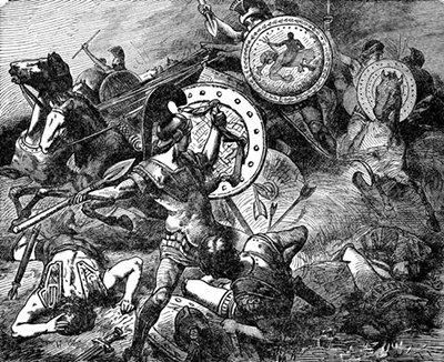 Vintage soldiers fighting in battle illustration.
