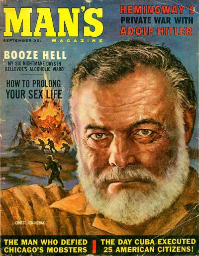 vintage man's magazine cover hemingway hitler