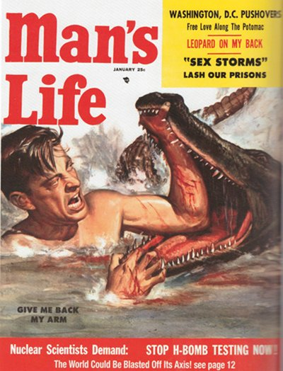 Vintage man's life magazine cover fighting alligator.