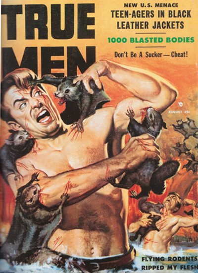 true men vintage magazine cover flying rodents
