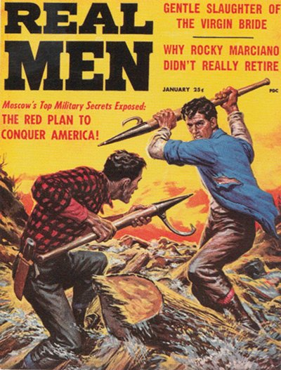 Real men vintage magazine cover fighting spears.