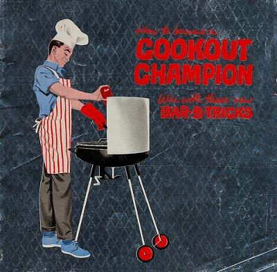 Man grilling illustration cookout champion bbq.