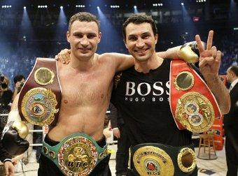 The Klitschko Brothers heavyweight boxing belts
