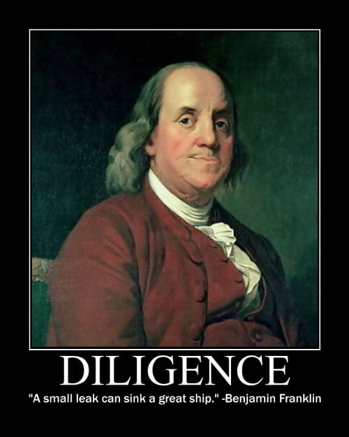 Ben Franklin's Diligence quote motivational poster.