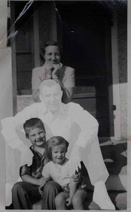 Vintage family photo father's death out of picture.
