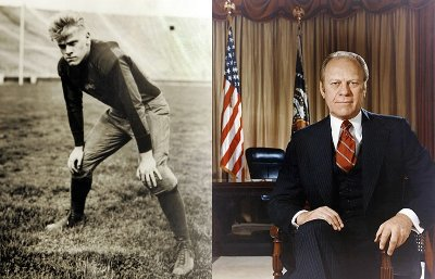 Vintage photo of Gerald ford as president and as football player.