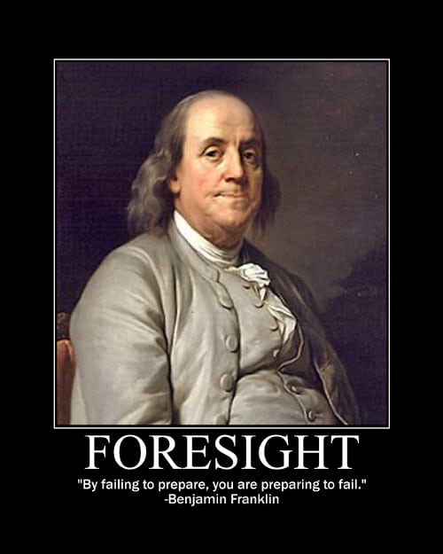 Benjamin Franklin's Foresight quote motivational poster.