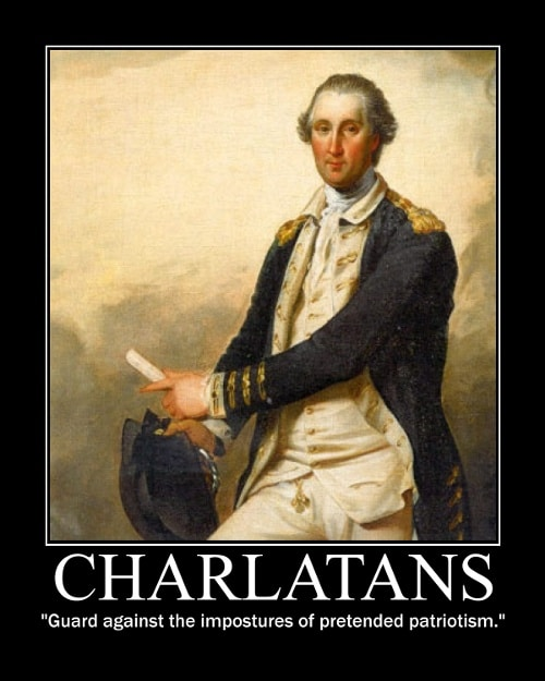 George Washington's Charlatans quote motivational poster.